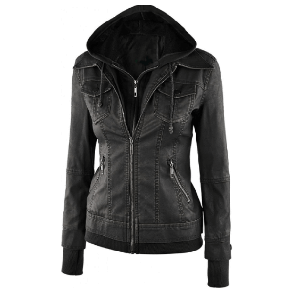 Betty Black Bomber Jacket Womens With Removable Hood