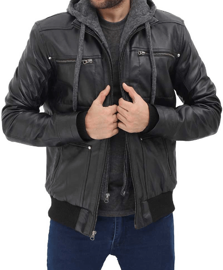 Black Bomber Mens Leather Jacket with Hood