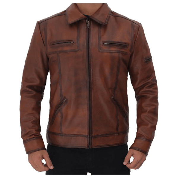 Mens Brown Casual Biker Jacket Rock a leather jacket that will give you the coolest look. This one is the perfect solution to elevate both style and comfort level. Adds instant appeal with its real leather material, distressed brown finishing, casual collar and multiple pockets. Specifications: 100% Real Cowhide Leather Lining: Viscose Front: Zip Closure, Shirt Style Collar Pockets: Four Outer Zipper Pockets, Two Inside Color: Brown
