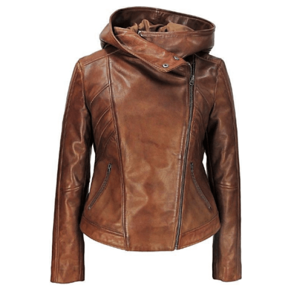 Georgetta Womens Asymmetrical Brown Leather Jacket with Hood