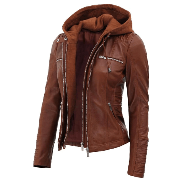 Helen Womens Brown Leather Jacket with Hood