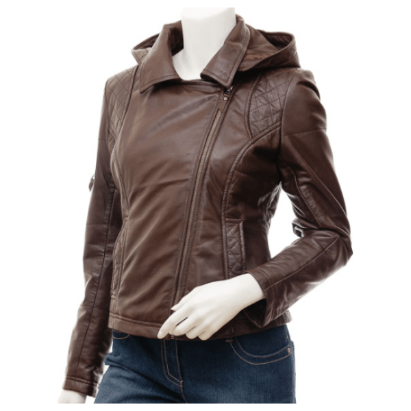 Juanita Women Brown Quilted Leather Jacket With Hood