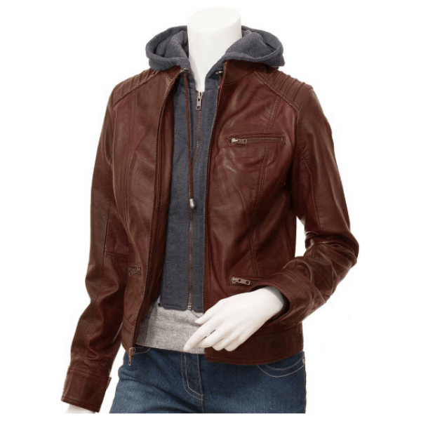 Patricia Womens Brown Leather Jacket With Hood