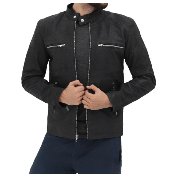 Rogers Black Leather Distressed Retro Cafe Racer Jacket