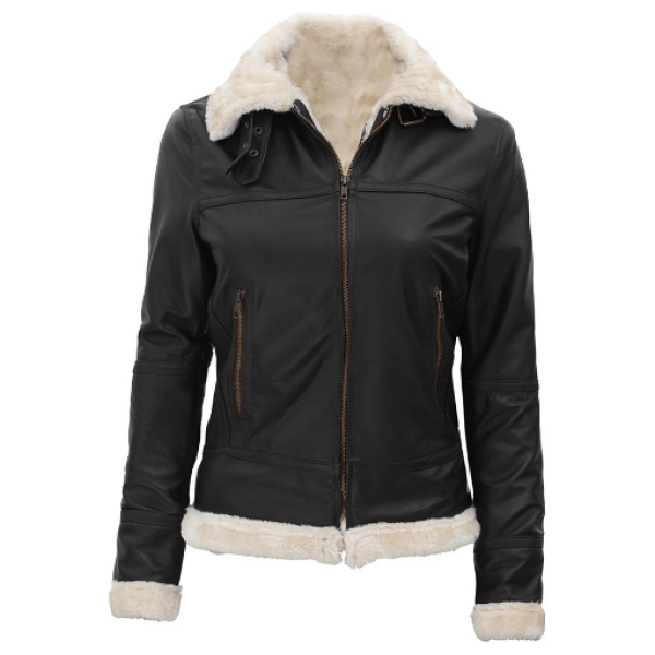 Frances Womens Brown Leather B3 Shearling Bomber Jacket