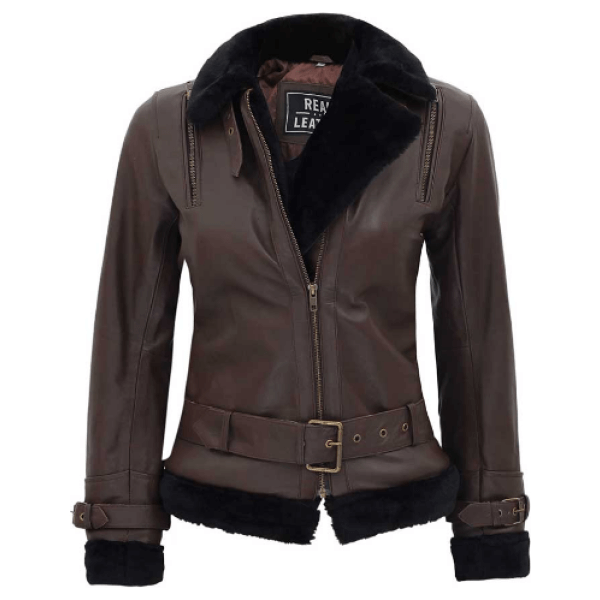 Gertrude Belted Leather Brown Shearling Jacket Women's