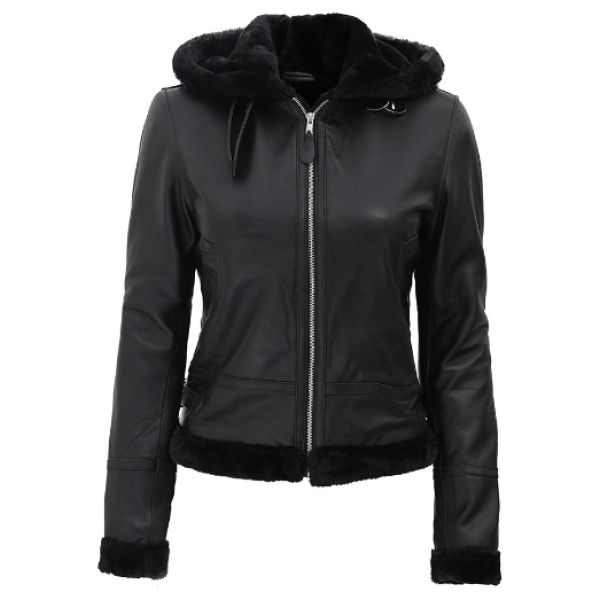 Shearling Hood Black Leather Aviator Jacket Womens Do you need to overcome the winter in a unique and stylish way? This Black Aviator Jacket Womens is the best option for the magnificent look and to remain warm in winter. Grab this Hooded Shearling Leather Jacket and flaunt freely everywhere. Specification: Material: Real Leather Front: Zip Closure and Belted Collar Pockets: Two Outer Pockets, One Inside Pocket Features: Hood, Shearling cuffs, and hems. Color: Black