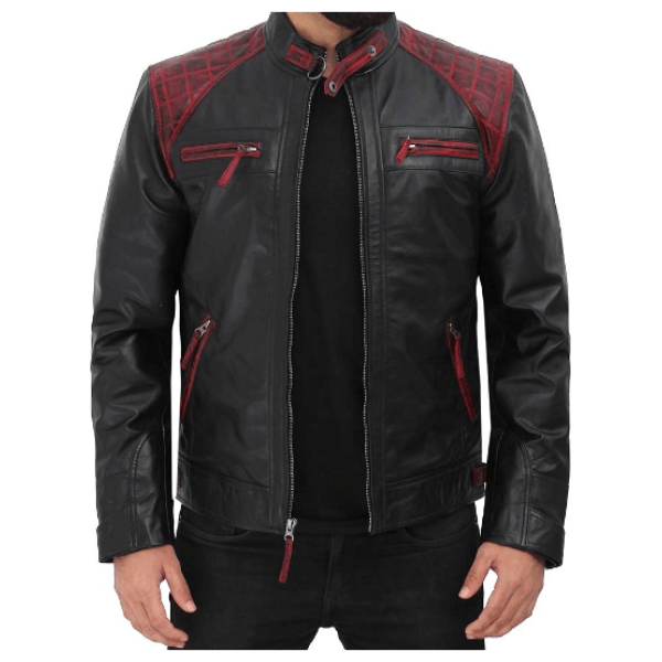 Mens Black and Maroon Quilted Shoulder Distressed Cafe Leather Jacket