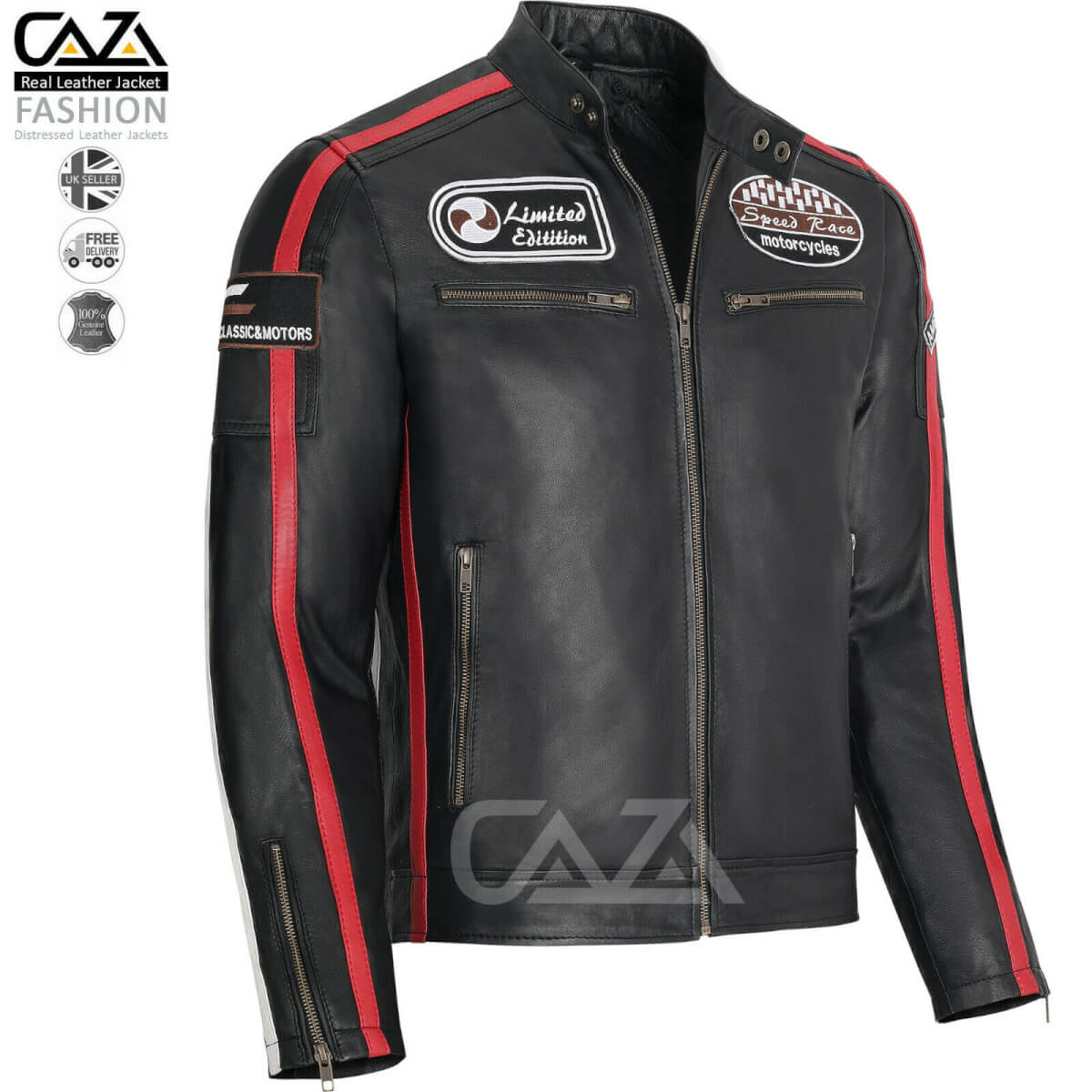 Mens Black Leather Racing Biker Jacket with Badges and stripes Slim Fit Style